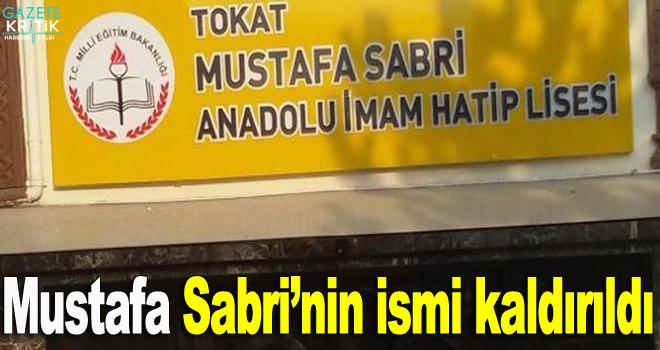 Mustafa Sabri'nin ismi kaldırıldı