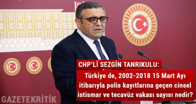 Türkiye de, 2002-2018 15 Mart Ayı itibarıyla polis kayıtlarına geçen cinsel istismar ve tecavüz vakası sayısı nedir?