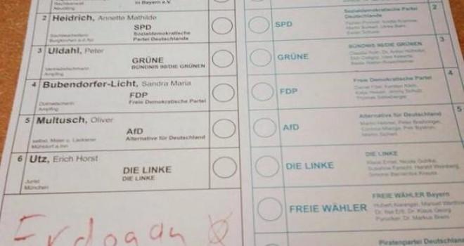 Almanya seçimlerinde Erdoğan'a oy çıktı!