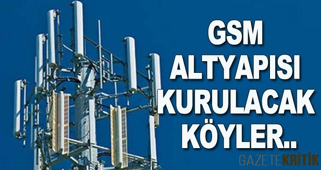 GSM ALTYAPISI KURULACAK KÖYLER..