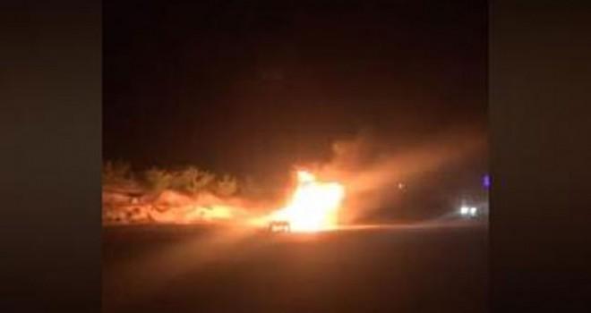 Alev alev yanan otomobilin LPG tankı patladı