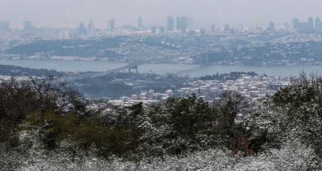 Beylikdüzü'nde kar yağışı başladı.