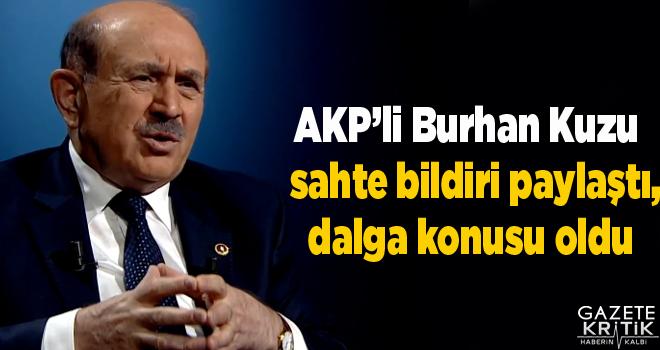 AKP'li Burhan Kuzu sahte bildiri paylaştı, dalga konusu oldu