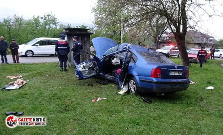 Düzce'de otomobil takla attı: 1 ölü, 2 yaralı