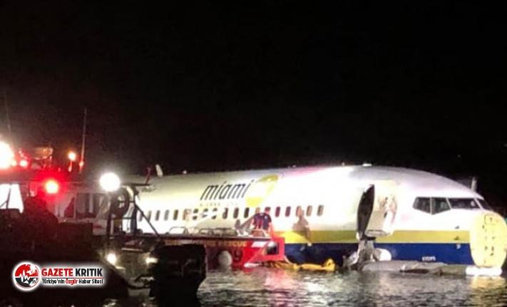ABD'de yolcu uçağı pistten çıkıp, nehre sürüklendi