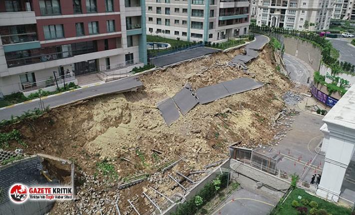Başakşehir'de çökmenin yaşandığı alandaki son durum havadan fotoğraflandı