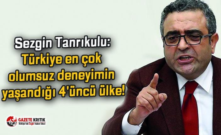 Sezgin Tanrıkulu:Türkiye en çok olumsuz deneyimin yaşandığı 4'üncü ülke!