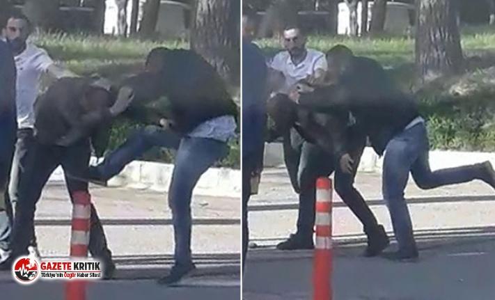 Üniversite kampüsünde genç kızın fotoğrafını çeken adamı dövdüler