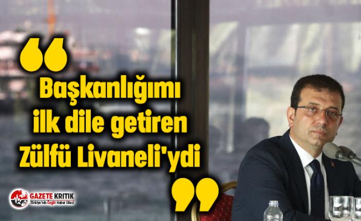 İmamoğlu: Başkanlığımı ilk dile getiren Zülfü Livaneli'ydi