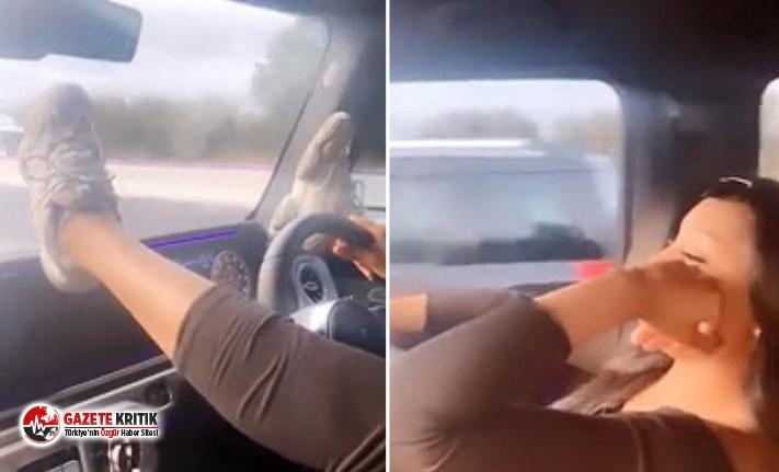 Ünlü futbolcunun eşinin trafikteki görüntüleri tepki çekti