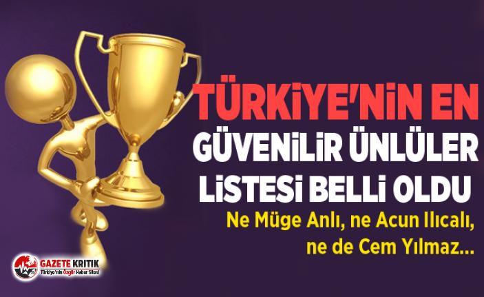 Türkiye'nin en güvendiği ünlüler belli oldu