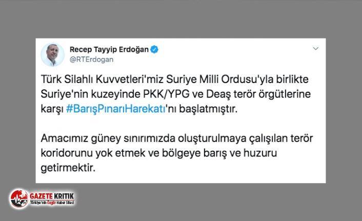 Erdoğan açıkladı: Suriye'nin kuzeyinde PKK/YPG ve DEAŞ terör örgütlerine karşı harekât başladı