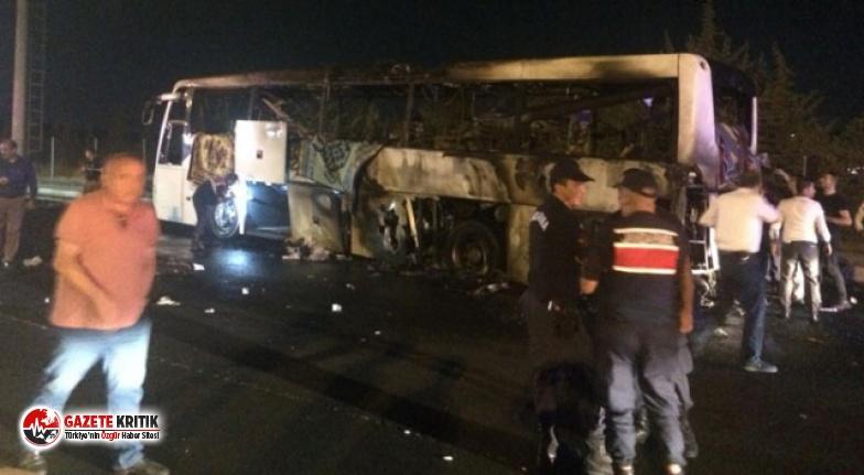 Faciadan dönüldü! Yolcu otobüsü alev alev yandı