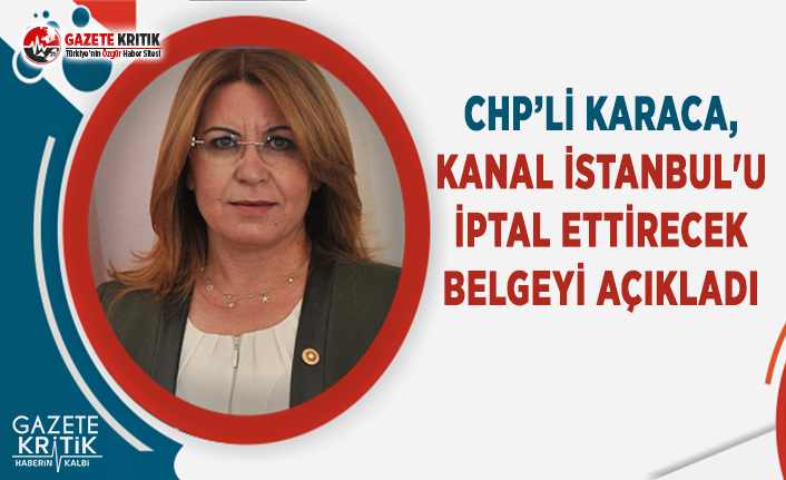 CHP'li Karaca, Kanal İstanbul'u İptal Ettirecek Belgeyi Açıkladı