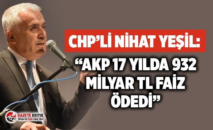 """CHP'li Yeşil; """"AKP 17 Yılda 932 Milyar TL Faiz Ödedi"""""""