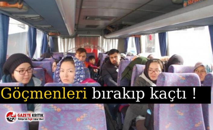 Lastik patlayınca 32 göçmeni bırakıp kaçtı !