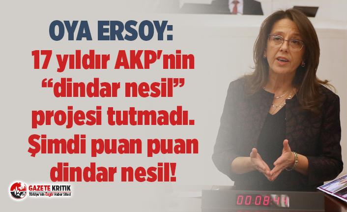 """Oya Ersoy: 17 yıldır AKP'nin  """"dindar nesil"""" projesi tutmadı. Şimdi puan puan dindar nesil!"""
