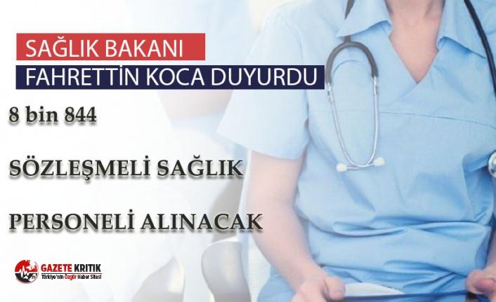 Kamuda 8 bin 844 sözleşmeli sağlık personeli işe alınacak