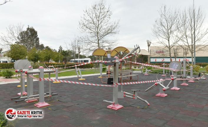 Çiğli'de çocuk oyun parkları kapatıldı ve belediye girişlerine dezenfekte cihazı kondu