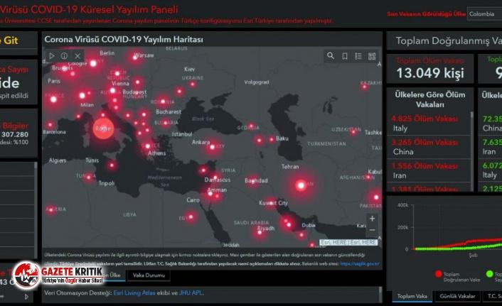 Virüsün dünyaya yayılım haritası Türkçeye çevrildi