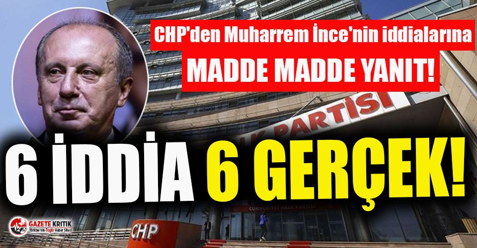 CHP'den Muharrem İnce'nin iddialarına yanıt!