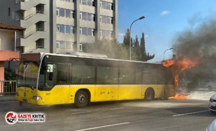 İstanbul Bostancı'da İETT otobüsünde yangın çıktı