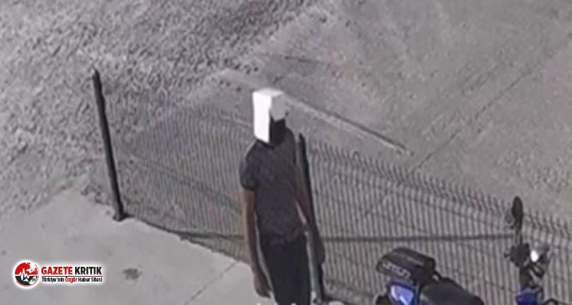 Kafasına geçirdiği kartonla motosiklet çaldı