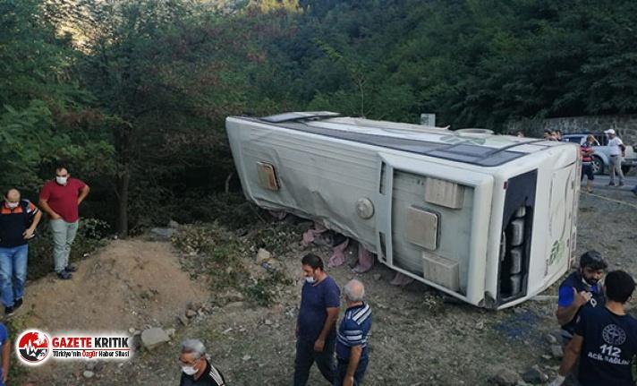 Maden işçilerini taşıyan otobüs devrildi: 1 ölü, 16 yaralı