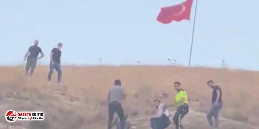 Türk bayrağını indirmeye çalışan kişi tutuklandı