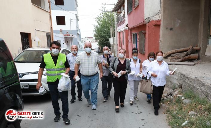 Bayraklı'da 15 bin adet dezenfekte ürünü dağıtıldı