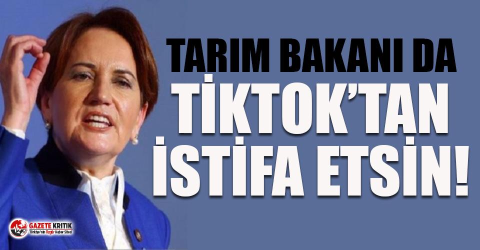 Akşener: Kabinenin bir diğer ultra başarılı üyesi Tarım Bakanı'nın da TikTok'tan istifa etmesini bekliyoruz