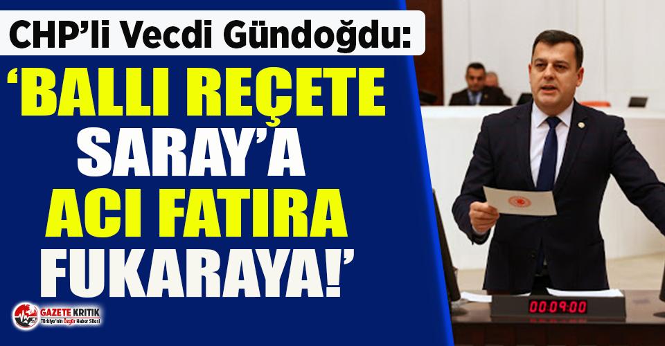 CHP'li Gündoğdu: Ballı reçete Saray'a, acı reçete fakir fukaraya!