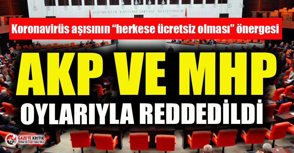 Koronavirüs aşısının ücretsiz olmasına ilişkin önerge AKP MHP oylarıyla reddedildi