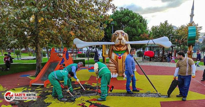 """Küçükçekmece'deki bir çocuk parkta """"PKK renkleri kullanıldığı"""" gerekçesiyle soruşturma başlatıldı"""