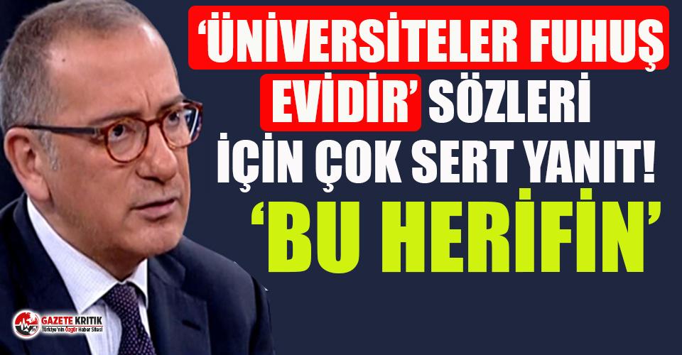 """""""Üniversiteler fuhuş evleridir"""" diyen Ebubekir Sofuoğlu'na Fatih Altaylı'dan çok sert yanıt"""