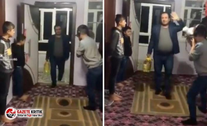 Sosyal medyada viral olan video: Ayçiçek yağını alan vatandaş evine törenle girdi