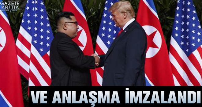 Tarihi buluşma... ABD Başkanı Trump ile Kuzey Kore lideri bir araya geldi