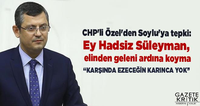 CHP'li Özel'den Soylu'ya tepki: Ey Hadsiz Süleyman, elinden geleni ardına koyma