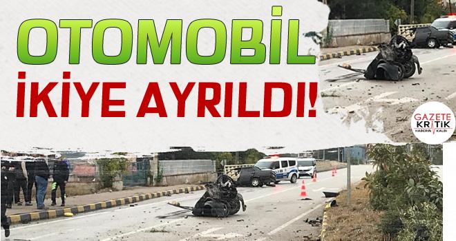 Aydınlatma direğine çarpan otomobil ikiye ayrıldı; sürücü yaralı