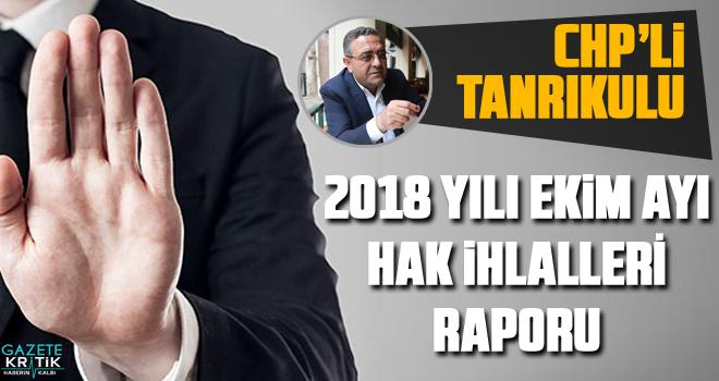 CHP'li Tanrıkulu 2018 YILI EKİM AYI HAK İHLALLERİ  RAPORU'nu yayımladı