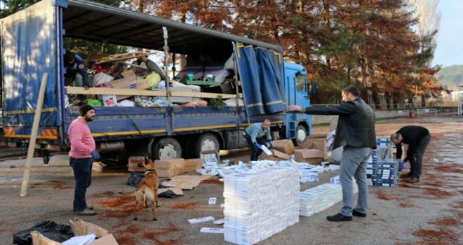 Tokat'ta 13 bin 750 paket kaçak sigara ele geçirildi