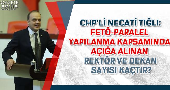 CHP'li Necati Tığlı:FETÖ-Paralel yapılanma kapsamında Açığa alınan rektör ve dekan sayısı kaçtır?