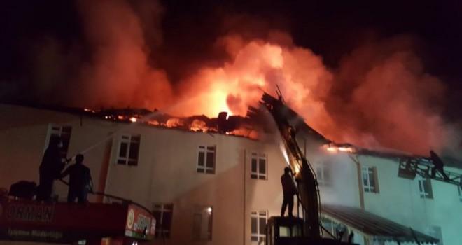 Karaman'da, Sarıveliler Devlet Hastanesi'nin çatısı yandı