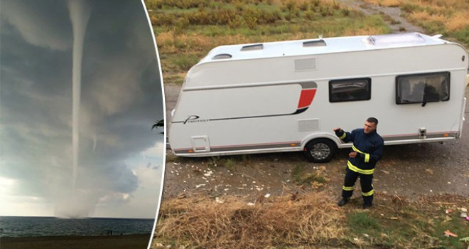 Hortum, karavanıHortum, karavanı ve yanında duran kişiyi 15 metre uçurdu ve yanında duran kişiyi 15 metre uçurdu