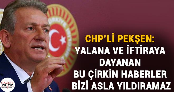 CHP'li Pekşen: Yalana ve iftiraya dayanan bu çirkin haberler bizi asla yıldıramaz