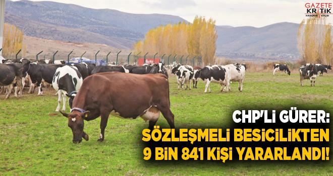 CHP'li Gürer: Sözleşmeli Besicilikten 9 bin 841 kişi yararlandı!