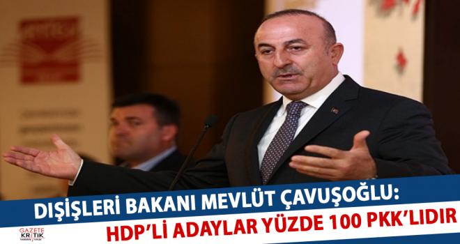 DIŞİŞLERİ BAKANI MEVLÜT ÇAVUŞOĞLU:HDP'Lİ ADAYLAR YÜZDE 100 PKK'LIDIR