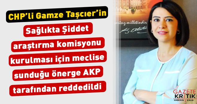 CHP'li Gamze Taşcıer'in Sağlıkta Şiddet araştırma komisyonu kurulması için meclise sunduğu önerge AKP tarafından reddedildi.