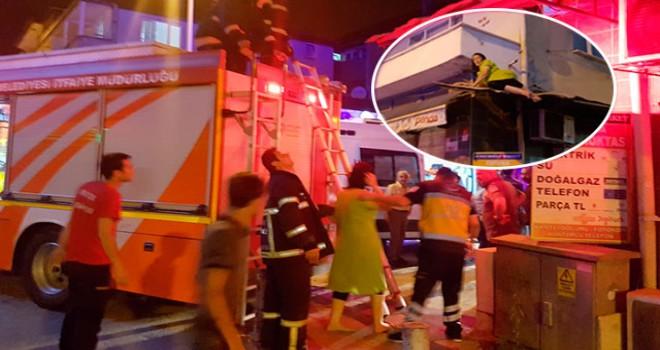 Balkondan düşen kadını tente kurtardı