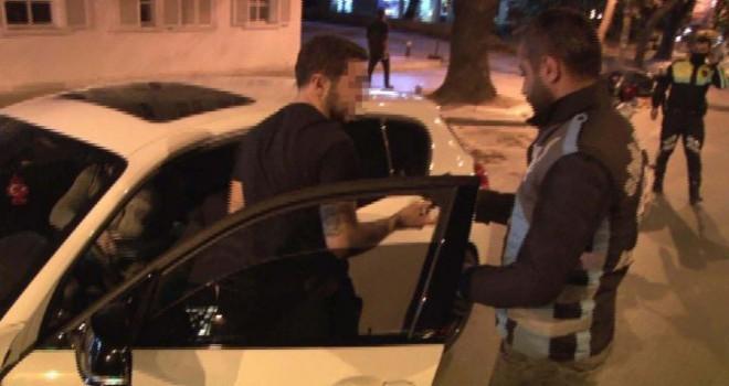 Polis drift yapan sürücüye ceza kesti